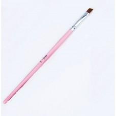 Кисть для геля скошенная № 6 (розовая ручка)