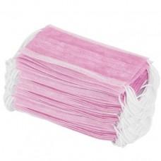 Маска защитная трехслойная на резинках, 1шт, розовая